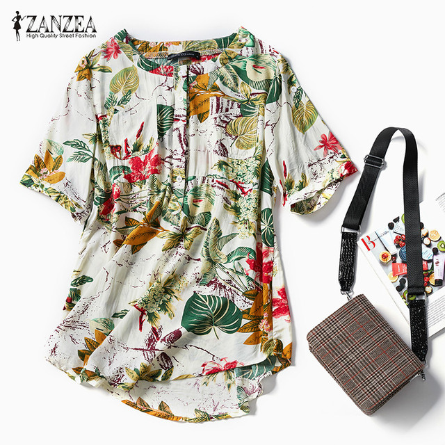 ed3cbff75b7f48 ZANZEA Women Floral Print Blouse Tops Casual Summer Roll Up Short Sleeve  Vintage Oversized Shirt Loose
