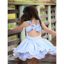 Children Dress Girls Blue Stripe Lace Summer Fashion Cute Double Solid Sleeveless Cotton DressY13