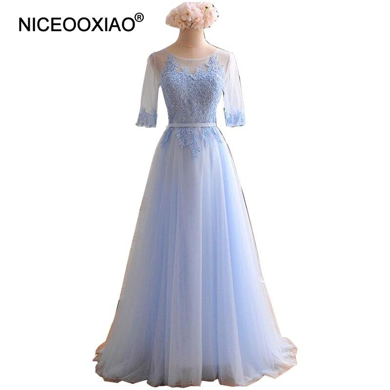 d1091a15a144 NICEOOXIAO 2018 Blu Abito Da Sera Lungo Del Merletto Del Ricamo Mezza  Manica Trasparente di Promenade Delle Donne Elegante Vestito Convenzionale