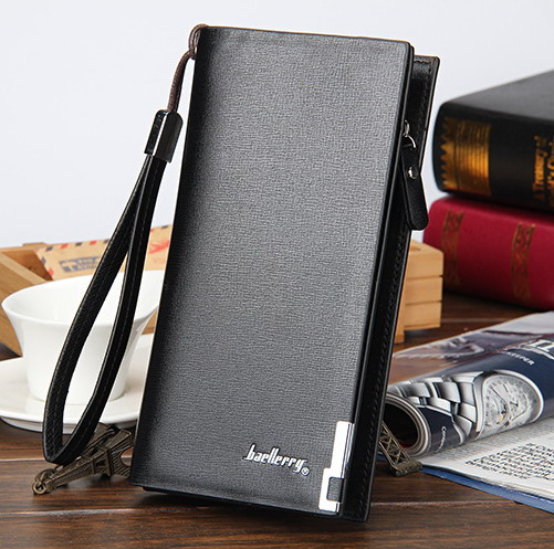 newest High quality mens long Leisure/business Iron edge with carrying strap leather wallets/purse/clutches free shipping W002