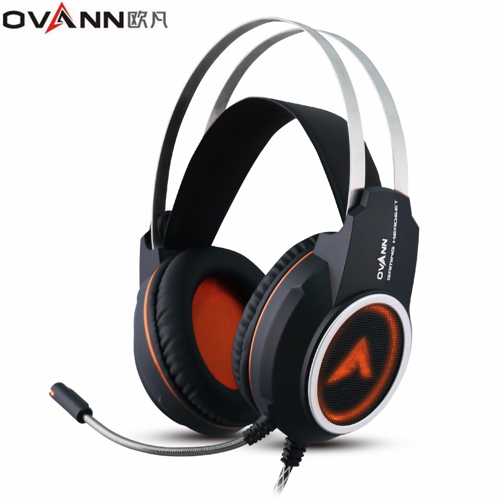 Ovann X80 Computer Gaming Headphones Over Ear Game Headset Shock Deep Bass With Mic Breathing LED Lights Design for PC Gamer
