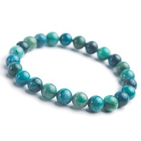 8mm Genuine Jewelry Bracelet For Men Women Natural Malachite Chrysocolla Crystal Gems Round Beads Stretch Bracelet
