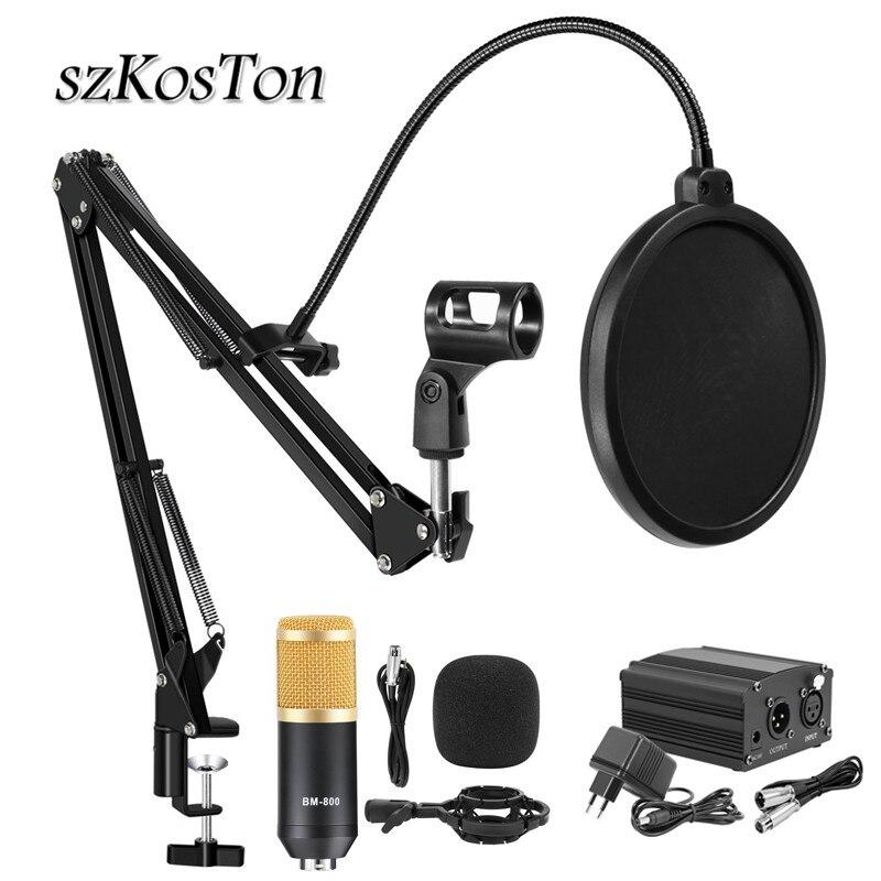 Bm 800 estúdio microfone profissional karaoke condensador microfone kits bm800 microfone para gravação de transmissão ao vivo do computador