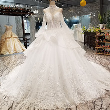 LS30001 lantern sleeve puffy wedding gown with collar chain sexy sweetheart bride wedding dresses 2018 best seller free shipping(China)