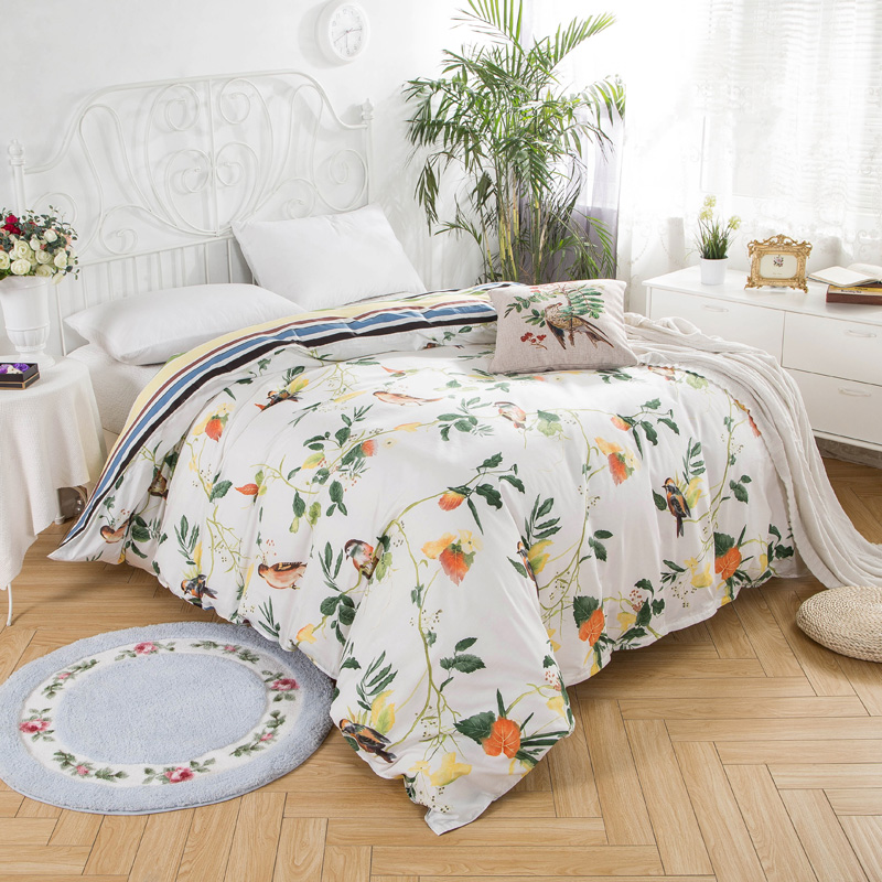 Pretty Bird Pattern Duvet Covers for King Size Bed 100% Cotton White Quilt Cover Suitable for Home Textile Queen King Twin Full