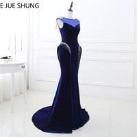E JUE SHUNG Navy Blue Velvet Mermaid Evening Dresses Long 2018 Crystals Beaded Evening Gowns Formal Dresses Dubai Arabic Dresses