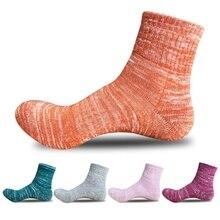 5 par/lote de calcetines transpirables cómodos de moda para mujer estilo nacional Vintage Otoño Invierno doble línea de engrosamiento