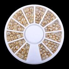 1 коробка AB бежевые металлические края блеск гвоздики, бусины для ногтей Красота Шарм Нейл-арт в домашних условиях жемчуг украшения колеса