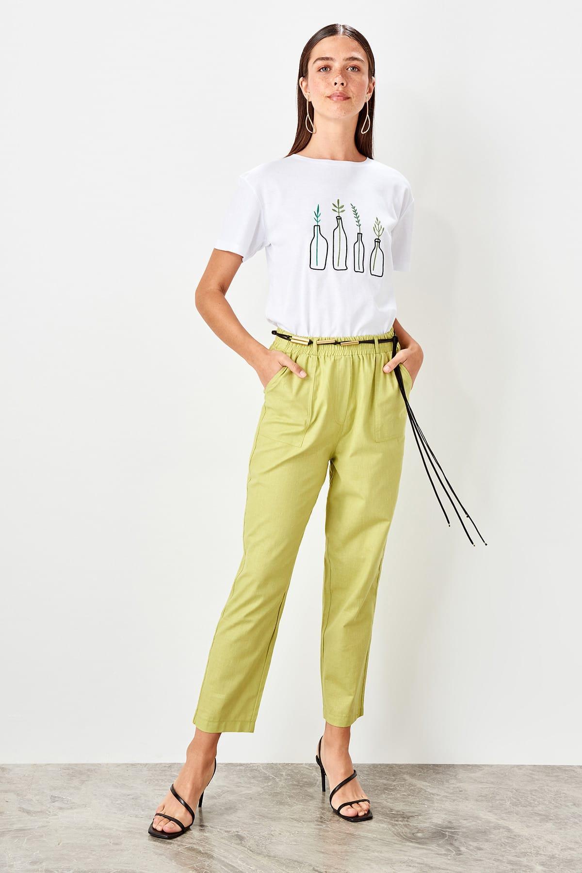 Trendyol Green Lacing Detaylı Pants TWOSS19PL0107