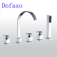 Dofaso Mixer Bathroom Tub Shower Faucet Bronze 3 Handle Waterfall 5pcs Bath Spout Faucet Shower Deck