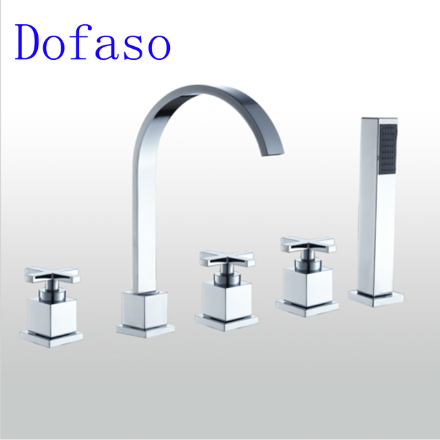 Dofaso Mixer Bathroom Tub Shower Faucet Bronze 3 Handle Waterfall 5pcs Bath Spout Deck