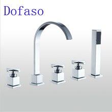 Dofaso mixer bathroom tub shower faucet Bronze 3 Handle Waterfall 5pcs Bath spout Faucet shower deck mounted bath shower mixer