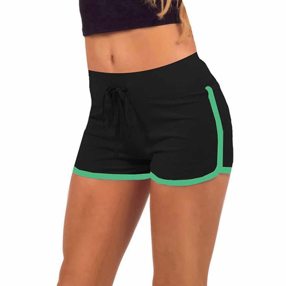 2019 kobiet sportowe spodenki treningowe Fitness kobiet spodenki do biegania sportowe spodenki bawełna wysokiej talii sportowe krótkie Feminino