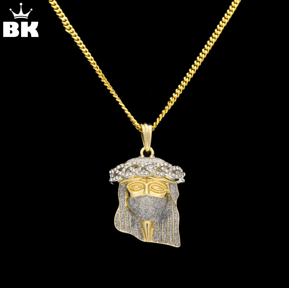 2018 New Hip Hop Gold Color Masked Jesus Face Pendant Necklace Crystal Jesus Piece Jewelry With Free 24'' 27.5'' Cuban Chain image