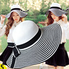 Summer Hepburn Small Sweet Ladies Black And White Bonnet Bow Holiday Beach Hat Large Side Sunshade
