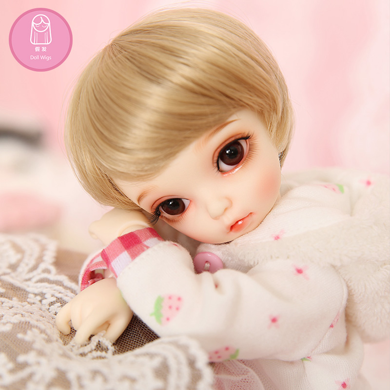 Wig For BJD Doll free shipping size 6-7 inch 1/6 FL Bisou high-temperature short wig girl bjd doll Wig in beauty with bangs L24# short fluffy high temperature fiber straight wig