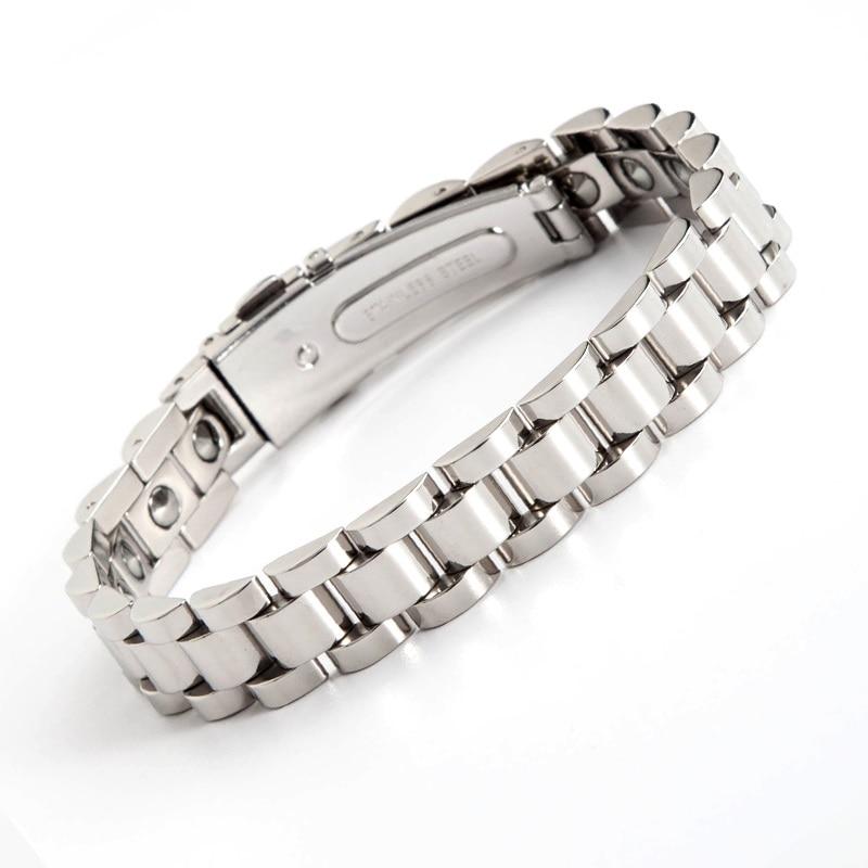 New 2018 Design Stainless Steel Couple Bracelet Gold Silver Causal Jewelry Women Men Bracelet Germanium Health Care Bracelets недорого