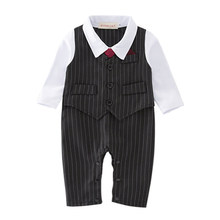 Baby Boy Clothes Newborn Baby Rompers Striped Long Sleeve 1 Year Birthday Party Dress Bow Tie Romper Kids Jumpsuit Costume + Hat(China)