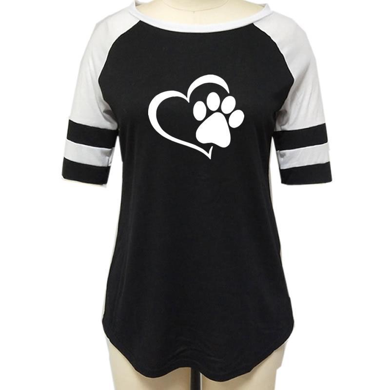 2019 nowych moda miłość odcisk psiej łapy Paw koszulka z nadrukiem koszula kobiety Plus rozmiar Raglan różowy T-shirt Tumblr przycięte słodkie 4