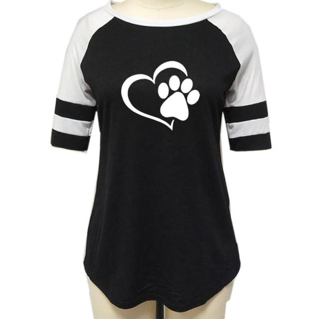 Love Dog Paw Print Top Shirt Women 4