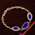 5 Colors CZ Diamond jewelry Gold Plated Austrian Crystal elegant shiny Ruby Sapphire bracelet for Women gift