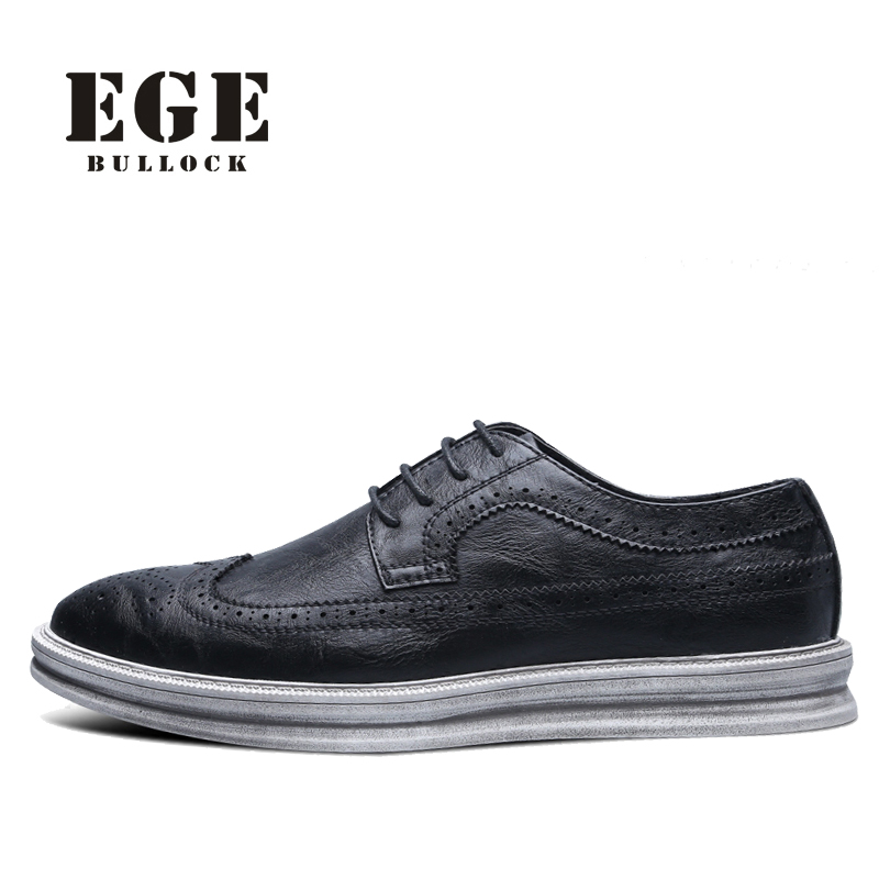 Men Casual Shoes New Arrival Genuine Leather Brand Male Flats British Style Lace-up EGE Brand Autumn Shoes for Men hot sale mens italian style flat shoes genuine leather handmade men casual flats top quality oxford shoes men leather shoes