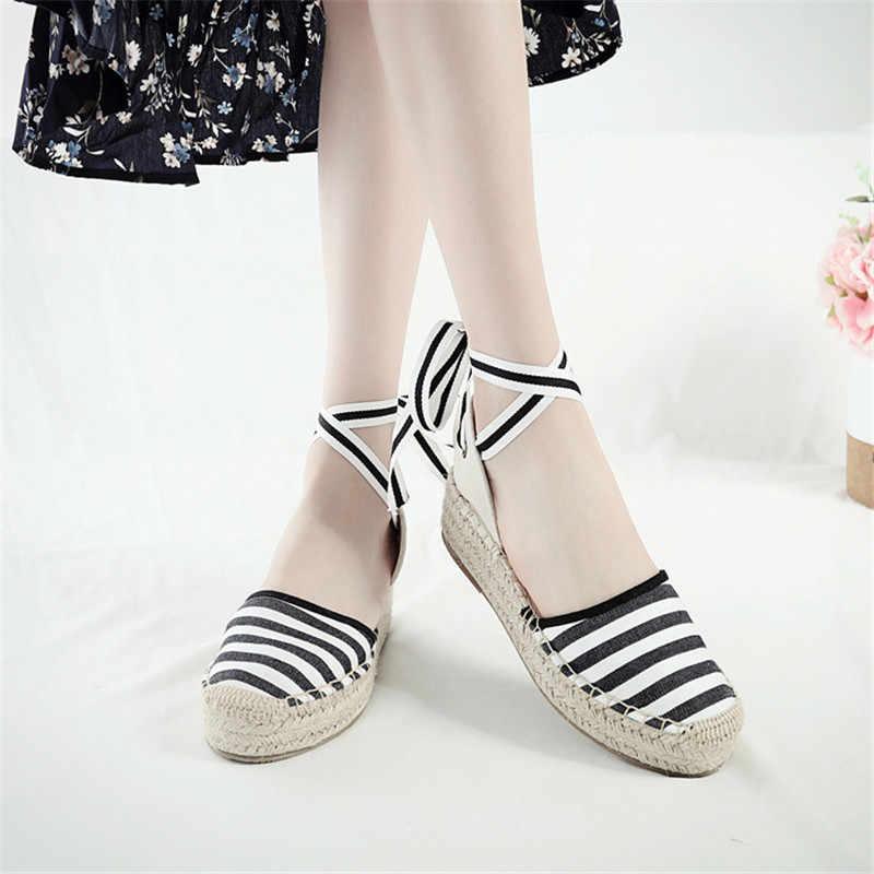 Yaz Siyah Çizgili Kama Espadrilles Kadın Sandalet Kapalı Ayak Dantel Gladyatör Sandalet Kadınlar Casual Lace Up Kadın Platformu Sandalet