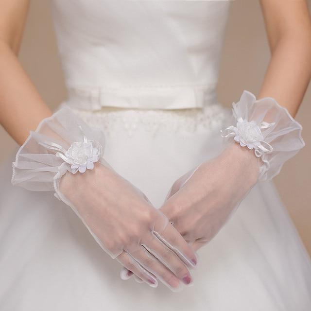 89ca2b188e6f Avorio fiori guanti da sposa tulle guanto corto da sposa a buon mercato  l1533