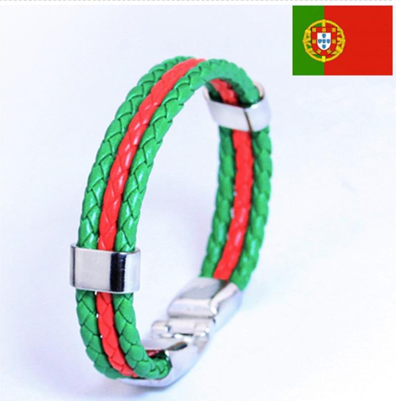 2016 Hot European <font><b>Cup</b></font> Bracelet Portuguese flag colors woven leather bracelet Portugal Bangle great gift for Portugal <font><b>cheer</b></font>!