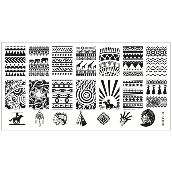 BORN PRETTY 1Pc Nail Stamping Plates Aztec Pattern Nail Art Stamp
