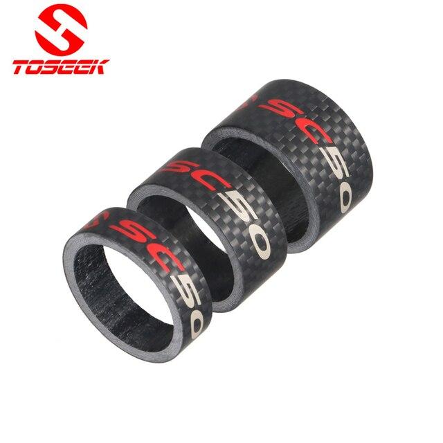 """Toseek Road Bike Fork Headset Spacer Full Carbon Fiber Bicycle Stem Washer Spacer 1 1/8"""" 10/15/20mm 3K Matte bike parts"""