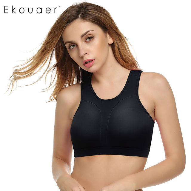 13e6ff2a5755c Ekouaer Women Vest T Bra Spring Summer Top Padded Solid Mid Fitness  Shockproof Bra Seamless Bra