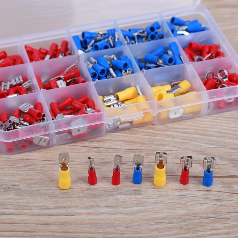 280pcs/ Box Female Male Wire Terminal Assortment Insulated Electrical Connector Spade Wire Crimp Terminal Cable Terminals Kit hd 007 surface mounting silver plated surface crimp terminal current 10a male female 250v 7 pins connector