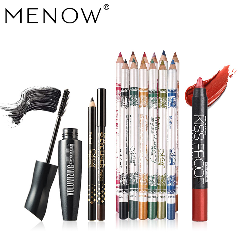 MENOW Brand Make up set kiss proof matte lipstick &12 color eyeliner can use as Eye shadow & Waterproof Mascara kit cosmetic5434