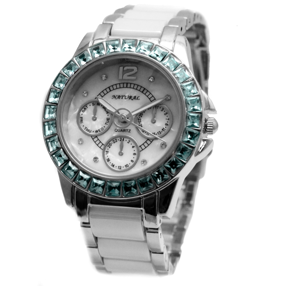 FW830T New Round White Dial Women Ceramic Aquamarine Blue Crystal Bracelet Watch