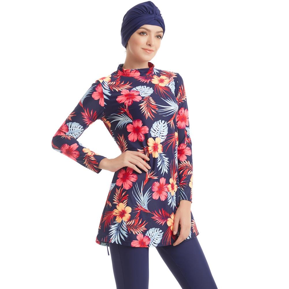 2019 New Burkinis Muslim Swimwear Islamic Swimsuits Women Girls Plus Size Full Cover Modest Islamic Swimming Suits