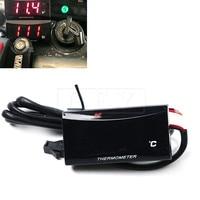 Universal 12V Motorcycle Waterproof Digital Thermometer Moto LED Engine Water Temperature Sensor Alarm Gauge Meter 0