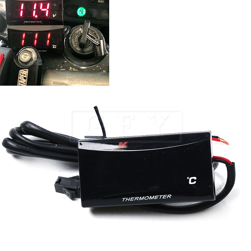 Universal 12V Motorcycle Waterproof Digital Thermometer Moto LED Engine Water Temperature Sensor Alarm Gauge Meter 0