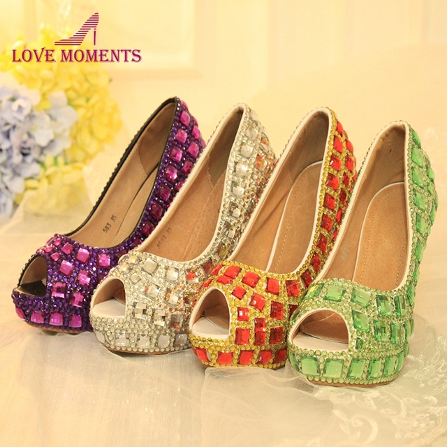 697464ab679 Gorgeous Crystal Peep Toe Wedding Party Shoes Summer Sandals Rhinestone  Green Purple Red Silver Graduation Prom Party Pumps