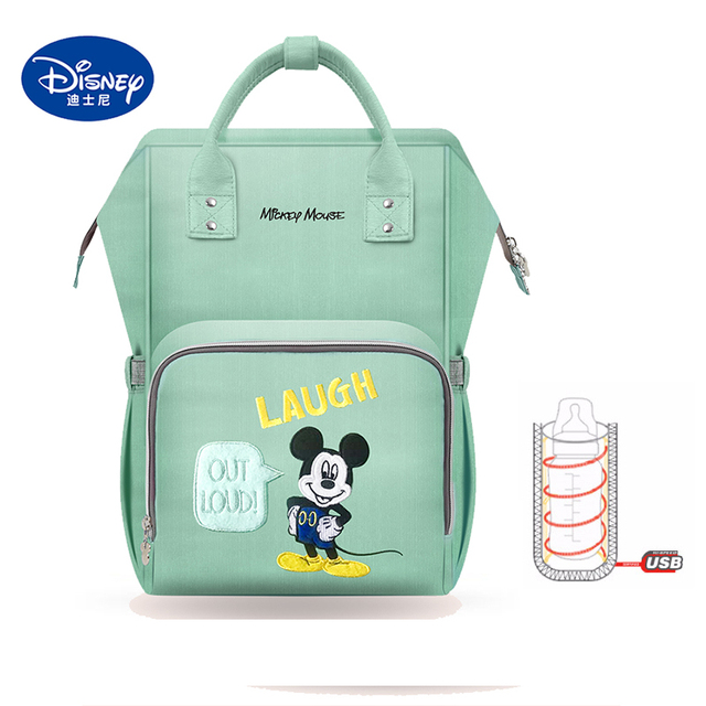 Disney Mickey Mochila Maternidade Waterproof baby food Feeding thermos Bags USB Heating Backpack large capacity Insulation Bags