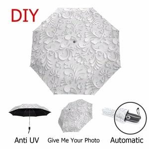 Image 5 - Guarda chuva de sol 3d dobrável, guarda chuva branco com 3 dobras, automático, anti uv para viagem ao ar livre