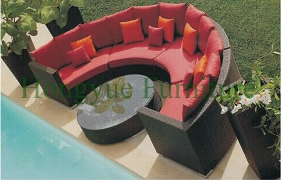 Exterior redonda de ratán sofá seccional set, muebles de jardín solución