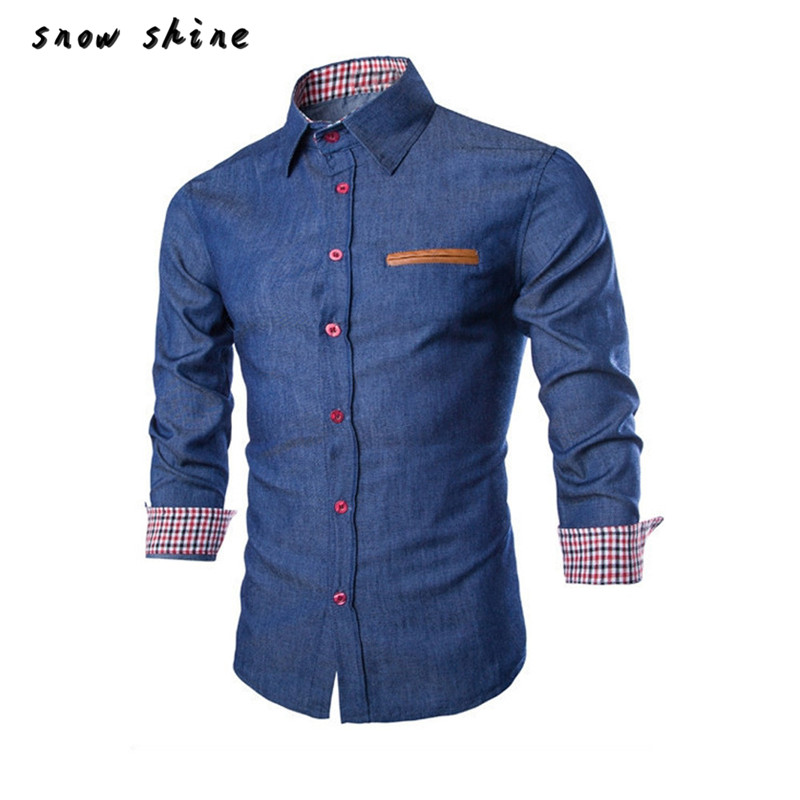 snowshine YLI  Luxury Mens Casual Stylish Slim Fit Long Sleeve Casual Formal Dress Shirts Tops  free shipping