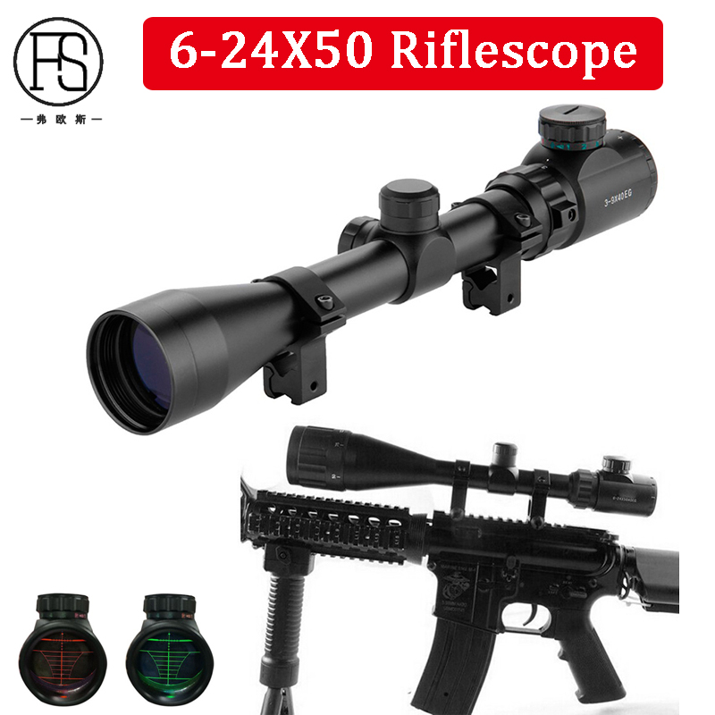 Sinper Shooting Hunting Optics Sight Scope Tactical 6-24X50 AOEG Red Green Mil-Dot Illuminated RifleScope 11mm 20mm