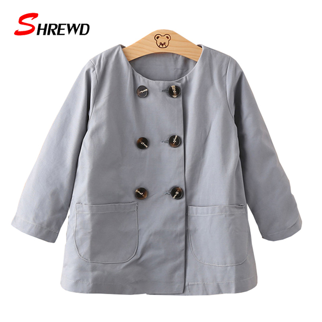 Girls Autumn Trench Coat New 2017 Fashion Double-breasted Solid Jacket For Girls Long Sleeve Simple Baby Girl Clothes 4492W