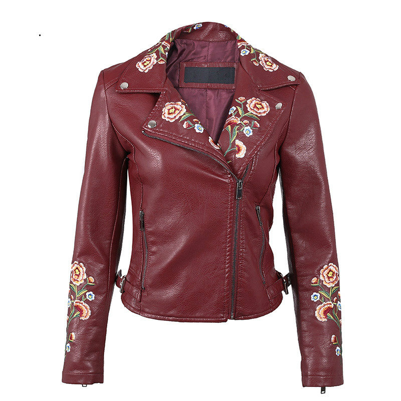 Embroidery Basic Jacket Coat Outerwear & Coats Black Faux Leather Jacket Women Short Win ...