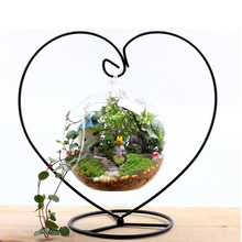 Moroccan Candlestick Heart-shaped Iron Wedding Candle Holder Glass Ball Lantern Hanging Stand Christmas Decoration