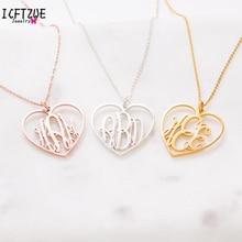 ba57e2ea8187 Personalizado joyería personalizada colgante de corazón monograma collar de  los hombres de las mujeres mejor amigo de plata de o.