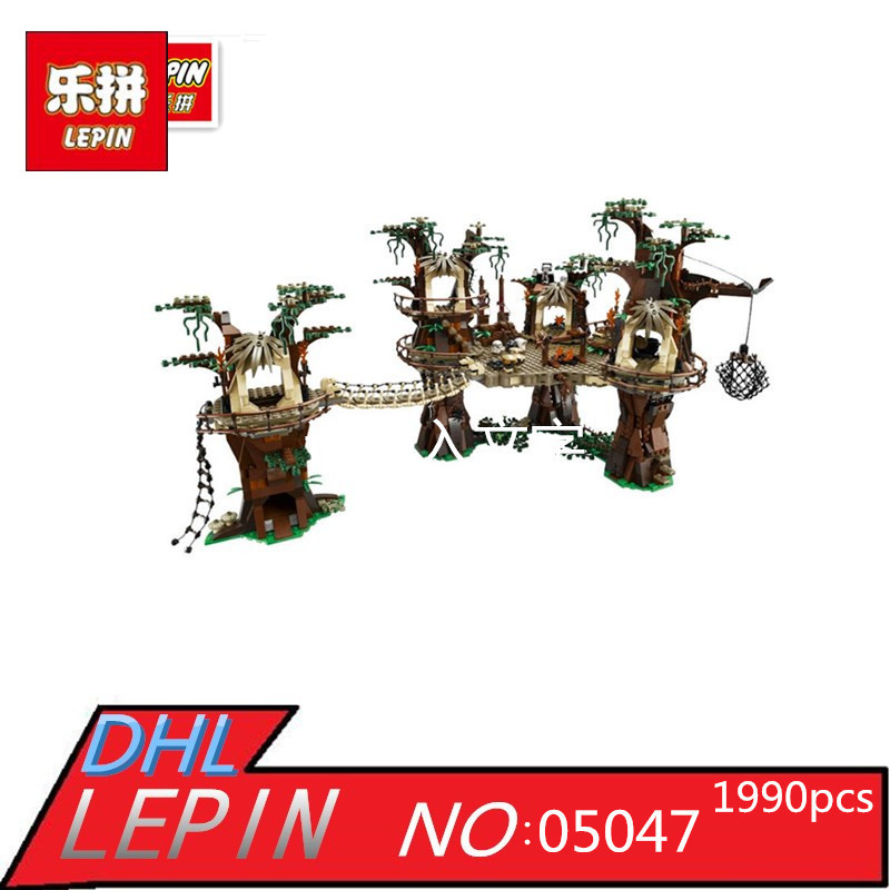 Lepin 05047 1990pcs Star E-wok Wars Village Building Blocks Bricks Educational Children Toys Compatible with 10236 Gift dhl fast shipping 1990pcs lepin 05047 ucs ewok village building blocks juguete para construir bricks toys compatible 10236