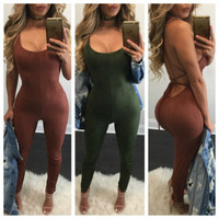 Women 2018 Summer Suede Bodycon Bodysuit Rompers Womens Party Elegant Jumpsuit Sleeveless One Piece Outfits Playsuit Overalls